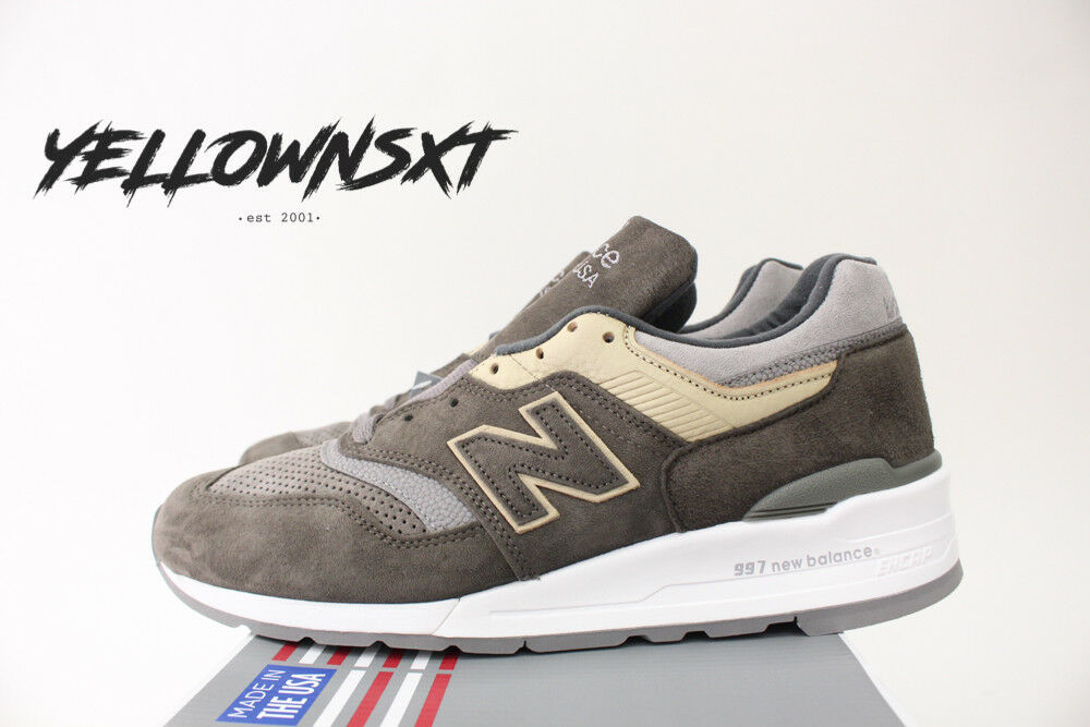 NEW BALANCE 997 SZ 12 MADE IN USA COOL GREY SUEDE TAN KHAKI BROWN M997FGG