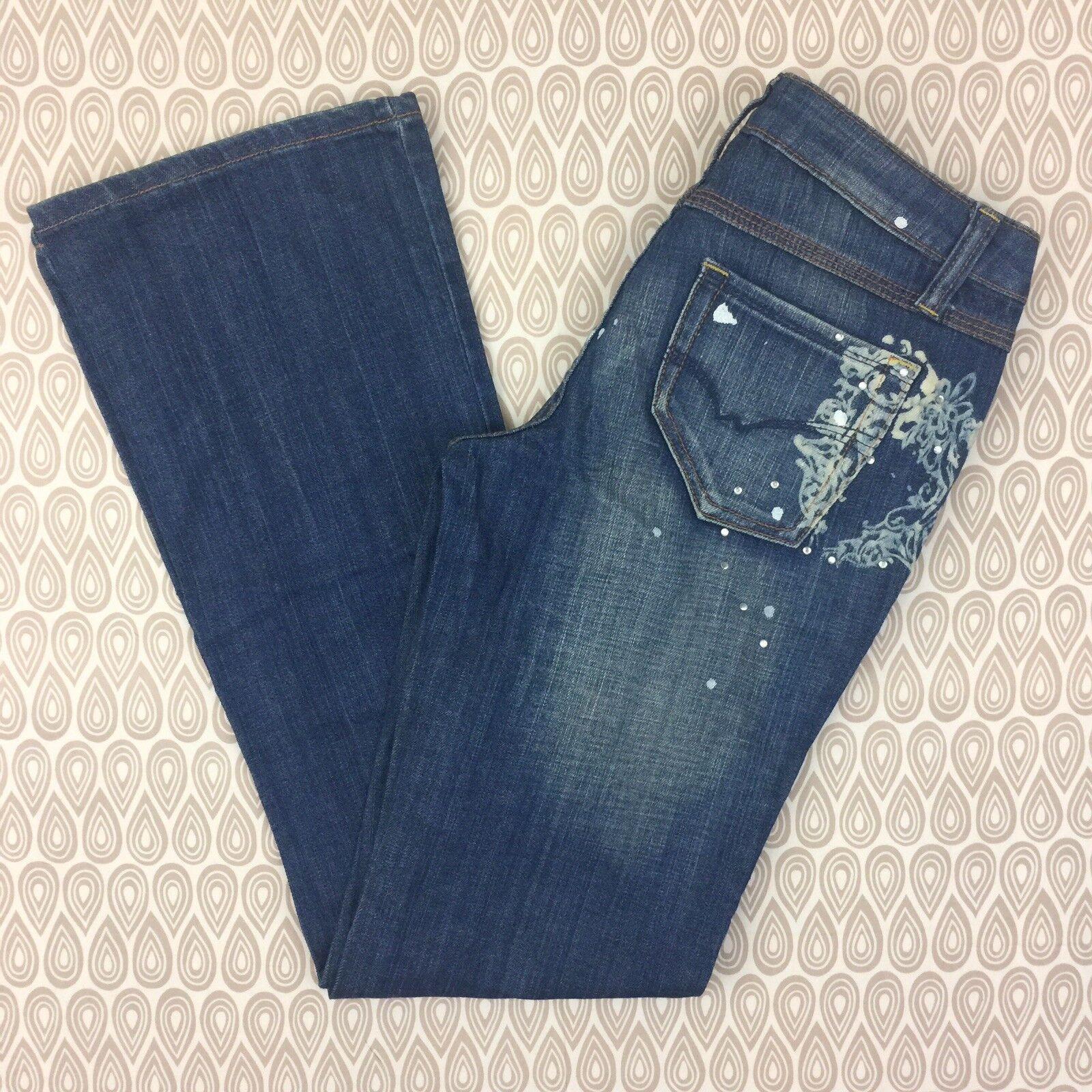 Zana Di Women's Bootcut White Paint Detail Denim Jeans Size 9 W92