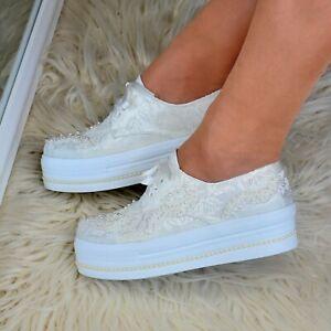 Ladies Bridal Flat Platform Shoes