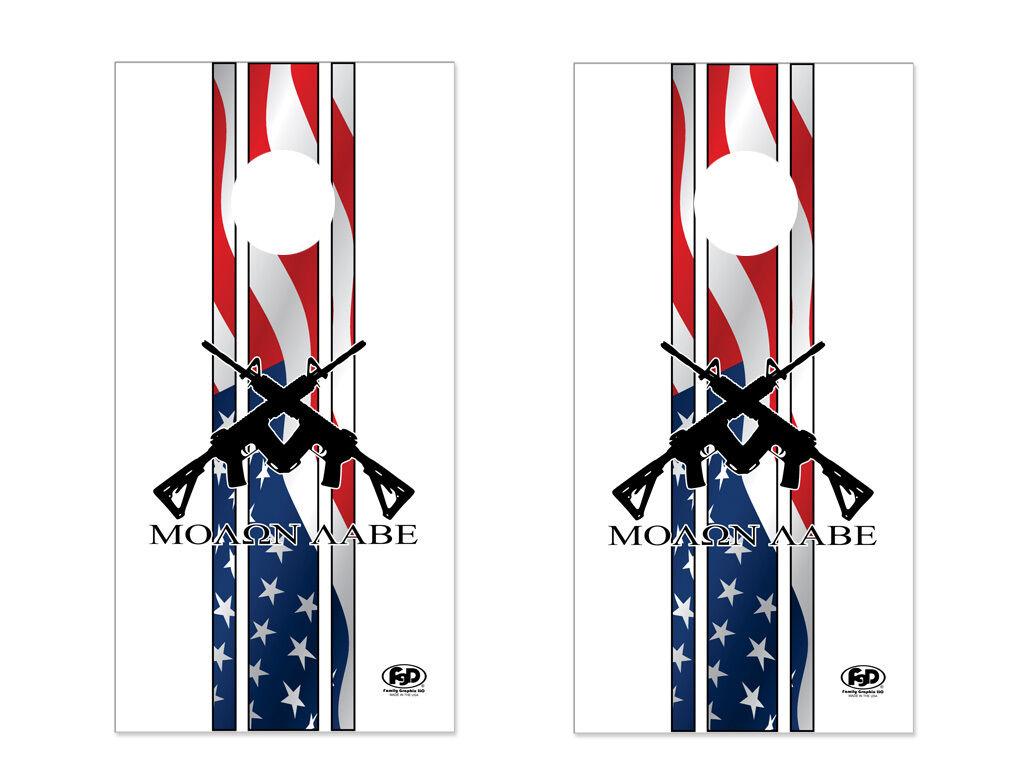 FGD  Cornhole Wrap Set 2nd  Amendment Molon Labe U.S. Flag LAMINATED Vinyl Decal  outlet factory shop