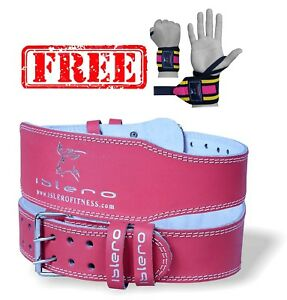 ISLERO-6-034-4-034-Ladies-Pink-Pure-Leather-Gym-Belts-Weightlifting-Back-Support-Strap