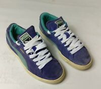 PUMA SUEDE WOMENS GIRLS CASUAL PURPLE WHITE TEAL TRAINERS SHOES SIZE UK 4 EU 37