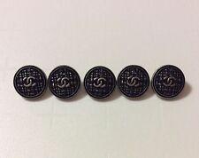 Vintage Chanel Buttons Jacket Coat Cardigan Set of 5 Black