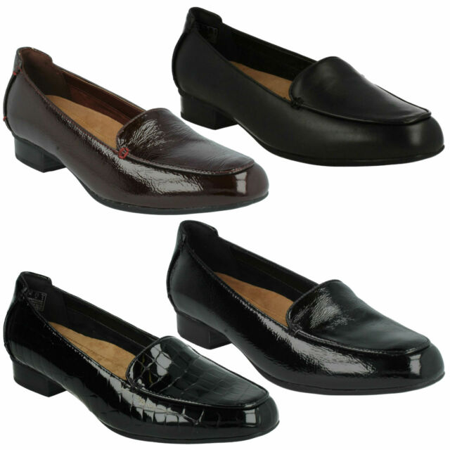 9a4eee527c9 KEESHA LUCA LADIES CLARKS LEATHER WIDE CLASSIC FLAT SLIP ON LOAFERS SHOES  SIZE