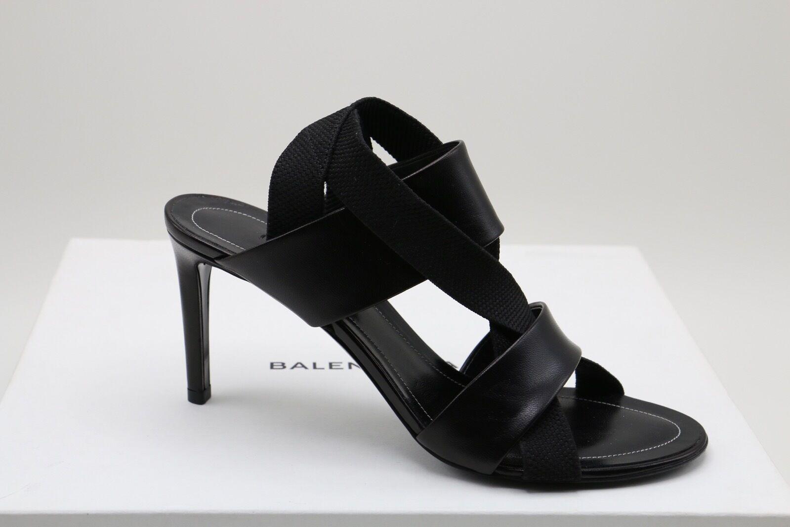 Balenciaga Correas Correas Correas De Cuero Negro Elástico Sandalias Zapatos impresionante en  36.5  directo de fábrica