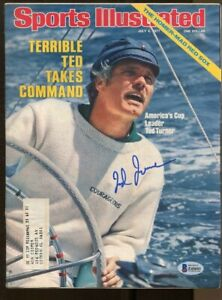 Ted Turner Signed Sports Illustrated 7/4/1977 Autographed America's Cup Beckett