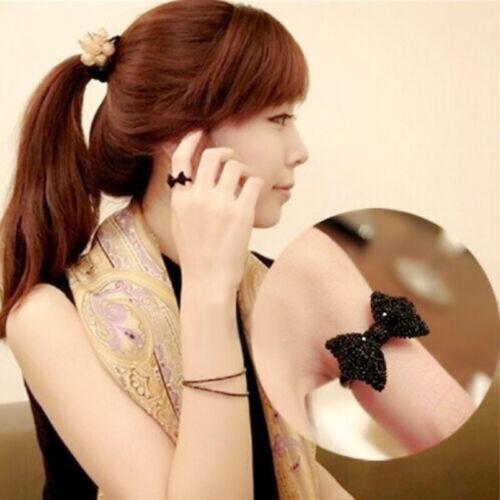 Stylish Elegant Women Girl Black Bow Tie Ring Size 8 Party Gift Alloy 2 Pcs QCQ