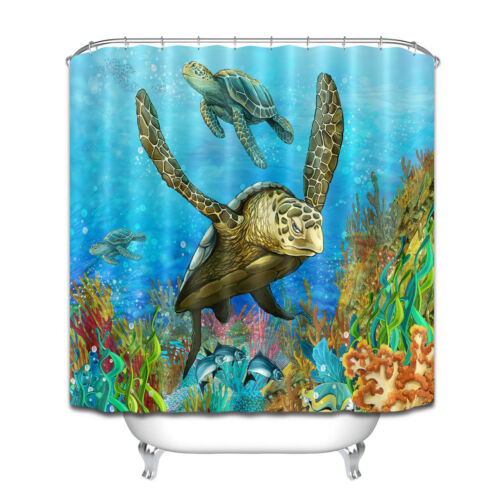 Blue Sea Turtle Extra Long Waterproof Shower Curtain Colorful Fish Reef Design