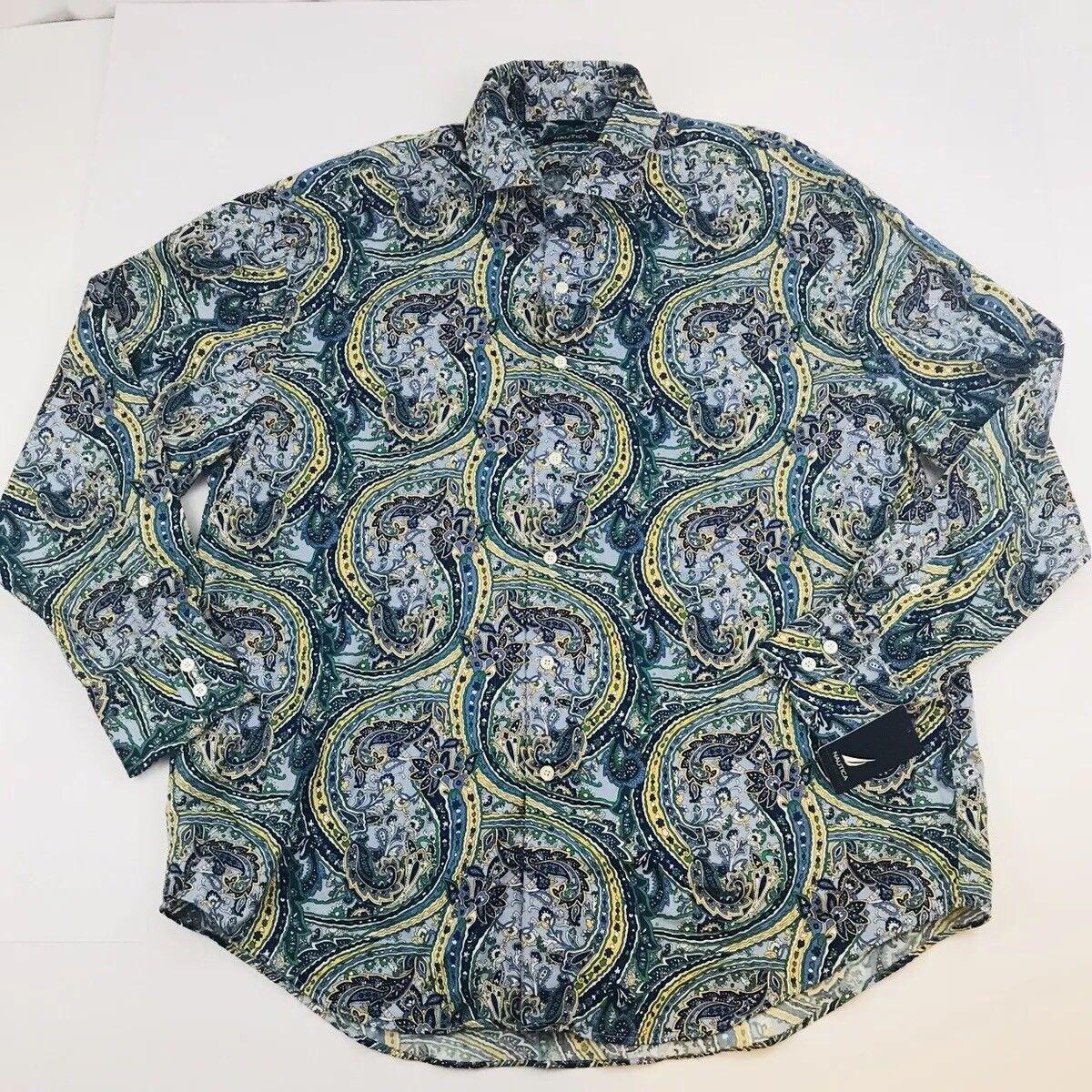 Nautica Mens XL Dress Shirt button front collared Floral paisley Design  (209)