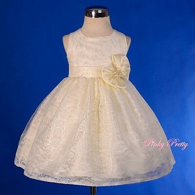 Ivory Lace Overlay Wedding Flower Girl Bridesmaid Party Dress Size 9m-3y FG276