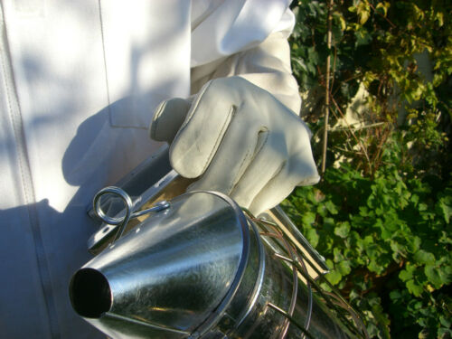 Talla  XXS Guantes de cuero blanco apicultor