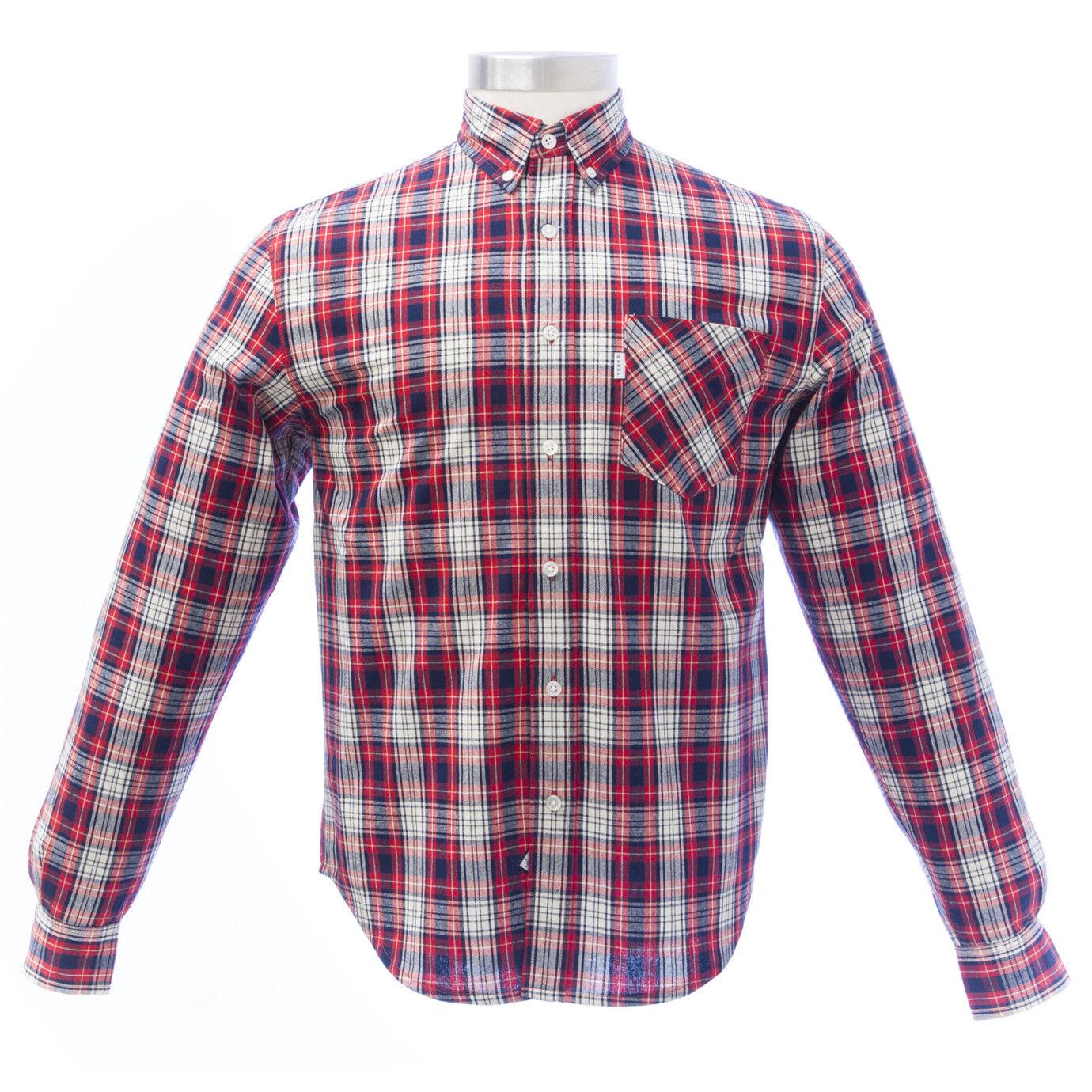 Durkl Men's Red Reissue Plaid Long Sleeve Button-up Shirt 2431 NEW