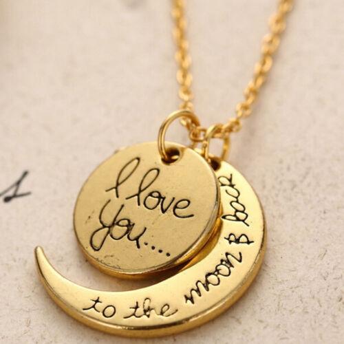 Collana doppio ciondolo pendente amore I love you moon back luna innamorati