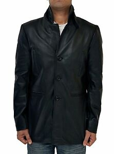 a07754b10 Details about Mens Max Payne Mark Wahlberg Black Real Leather Coat Jacket