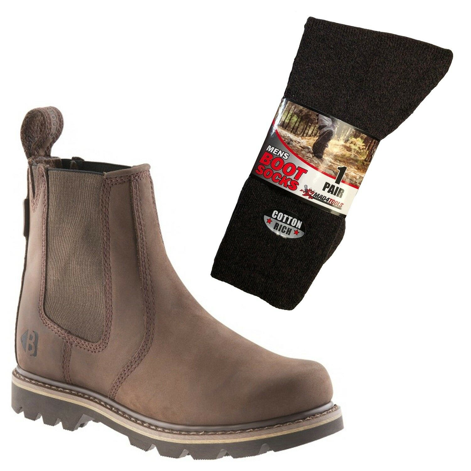 Buckler B1400 Non Safety Dealer Boots Brown (Sizes 6-13) & 1 Pair of Socks