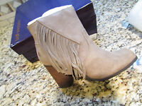 Madden Girl Descent Taupe Ankle Bootes Boots Womens 7.5 W/ Fringe Free Ship