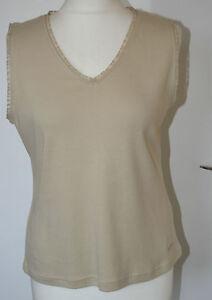 Per-Una-UK16-EU40-stone-cotton-stretch-top-with-ribbon-trim