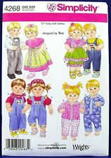 "Simplicity 15"" Baby Boy Girl Doll Clothes Sewing Pattern Pajamas Overalls 4268"