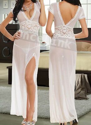 Sexy Wedding White Bridal Honeymoon Lingerie Long Gowns Chemise Babydoll Dress