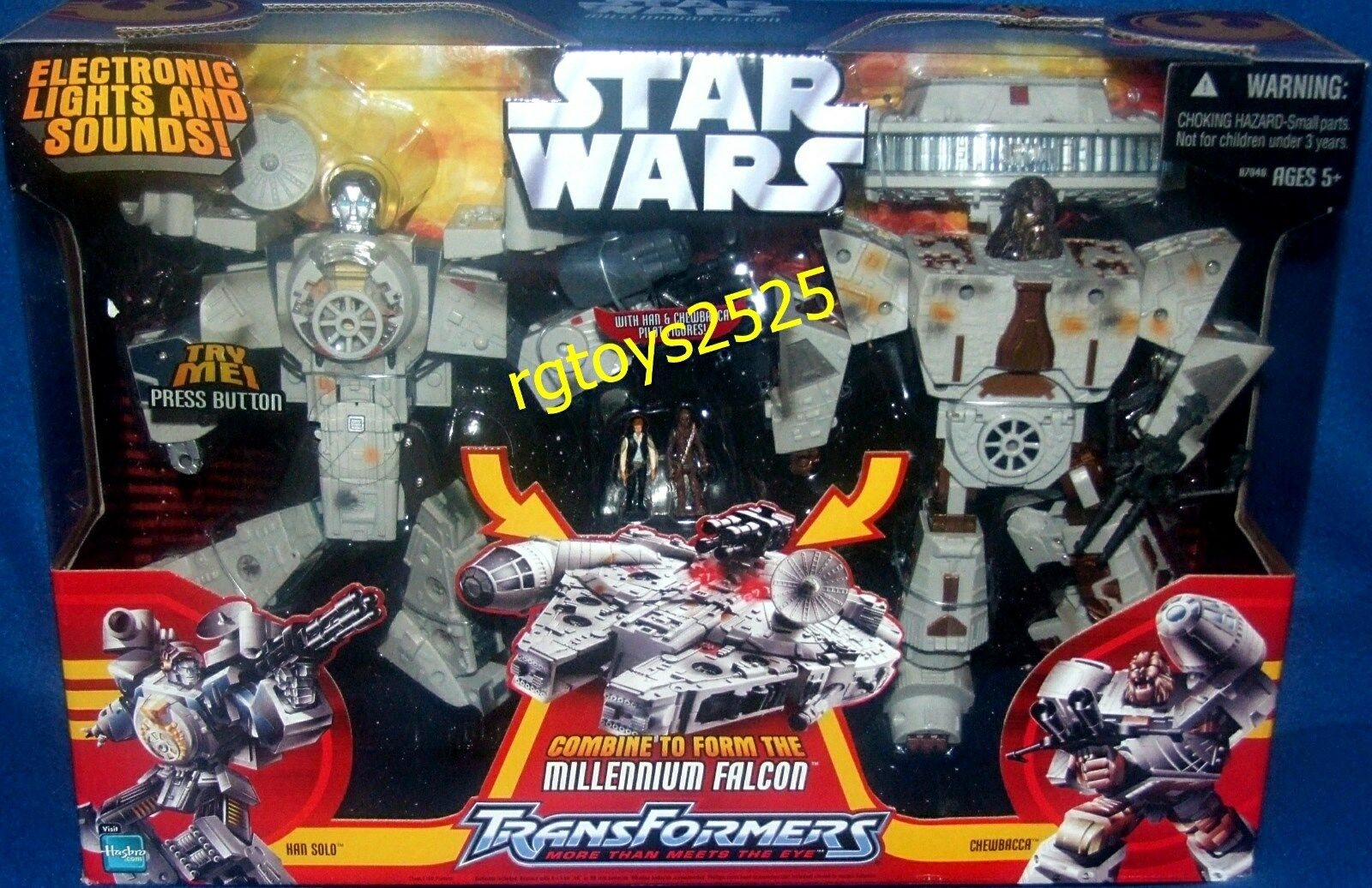 Star Wars Transformers MILLENNIUM FALCON New w Han & Chewbacca Factory Sealed 06