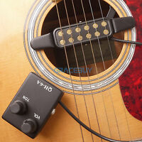 Acoustic Guitar Pickup Magnetic Preamp EQ Equalizer Tuner QH-6A For Sound Hole