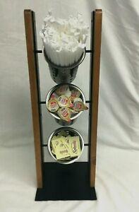 3 Tier Flatware /Condiment Stand/Server Oak Wood Black metal 3 Stainless holders