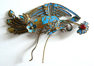 Qing-Dynasty-Kingfisher-feather-Pendant-Antique-VINTAGE-Chinese-19thTian-tsu