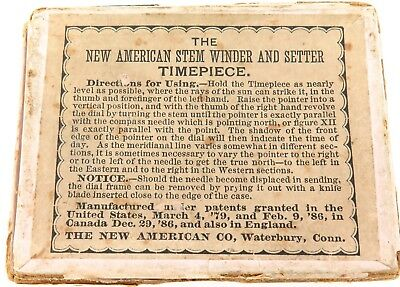 "Jewelry & Watches Alert Rare 1800s ""new American Stem Winder & Setter"" Sundial Pocket Watch Display Box."