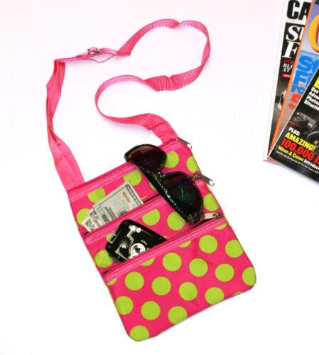 Crossbody Messenger Tote Bag Hot Pink  print with Lime polka dots
