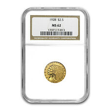 $2.50 Indian Gold Quarter Eagle Coin - Random Year - MS-62 NGC or PCGS