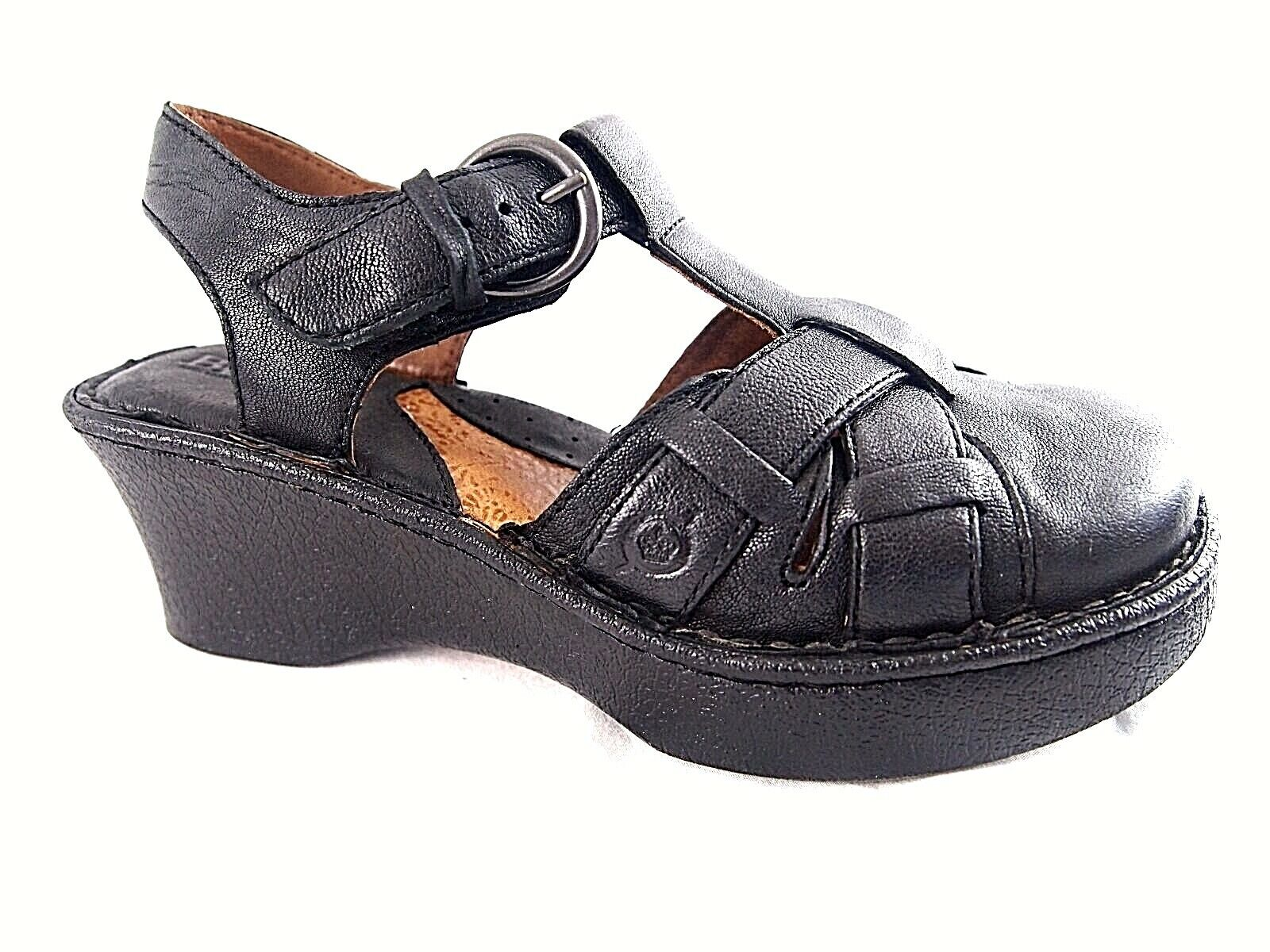 Born Shoes Black Leather Wedge Clogs Strappy Sandal Comfort BUCKLE Womens 7 M 38