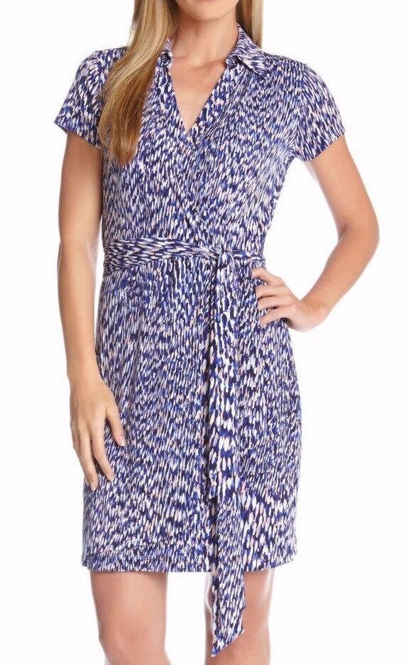 Karen Kane 2L79618 bluee Reflection Prt Stretch Jersey Wrap Dress w Self Tie Belt