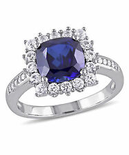 September Birthstone - Blue Sapphire with Diamond Accent Ring