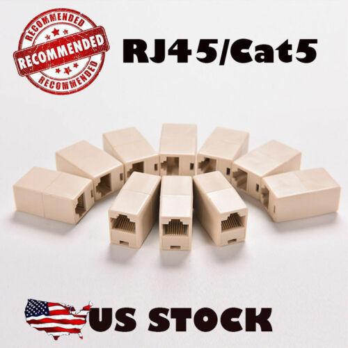 10X RJ45 CAT5 LAN Ethernet Splitter Adapter Extender Coupler Jointer Plug for PC