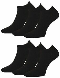 6 Pairs Mens Plain Black Prohike Performance Cotton Trainer Socks, Size 6-11