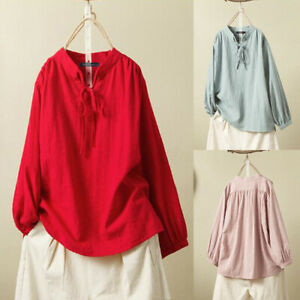 Mode-Femme-Coton-Manche-Longue-Simple-Decontracte-lache-Shirt-Haut-Tops-Plus