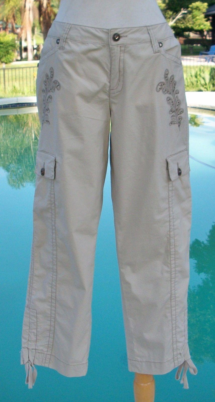 Cache Dressy Crop Pant 0 2 4 XS S Stretch Rhinestone Stud Adjust Length NWT  98
