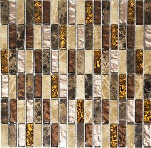 Das Bild Wird Geladen Glasmosaik Naturstein Staebchen Beige Braun Wand  Bad Sauna