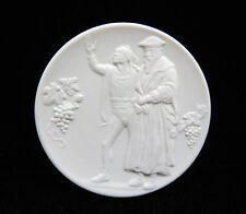 RARE Meissen Germany Crossed Swords White Bisque Porcelain Plaque Medallion Coin