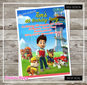 Image Is Loading PAW PATROL Personalised Party Invitations 4 Birthday With