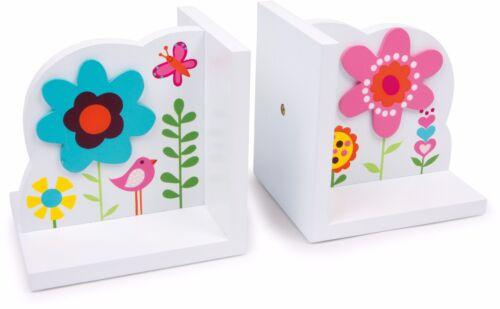 Buchstützen Blume 2er Set Holz für Kinder Buchstütze Regal Buch Stütze Weiß Neu
