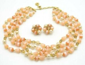LISNER-Pink-Acrylic-Faux-Pearl-Bead-Beaded-Choker-Necklace-Earring-Set-Vintage
