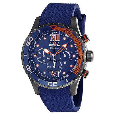 Invicta Signature II Chronograph Blue Dial Black  Polyurethane Mens Watch 7506