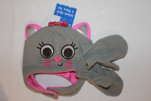 NEW Infant Girl Critter Hat Mittens Set Gray Cat Kitten Soft Fleece Cap Ear Flap