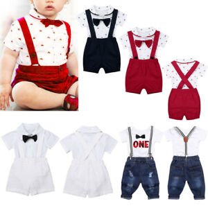 Baby-Toddler-Boy-Wedding-Christening-Tuxedo-Formal-Suits-Outfit-Clothes-Romper