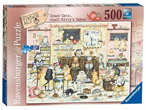 500 Piece Ravensburger Jigsaw Puzzle CRAZY CATS KITTYS CAKES