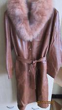 Vintage année 60/70 Manteau en Cuir couleur Marron Cognac col en fourrure T44