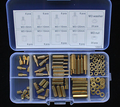 New 88pcs M3 Brass(Copper) Spacer Standoff / Nut/Washer Assortment Kit 120412