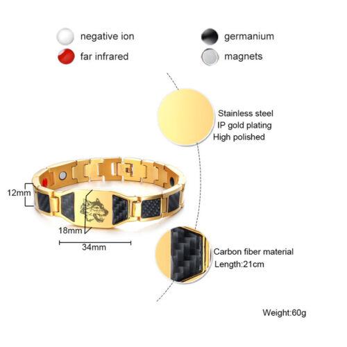 Les hommes de la Santé Aimant Thérapie Bracelet énergie en fibre de carbone Chaîne Loup Gravé Cadeau