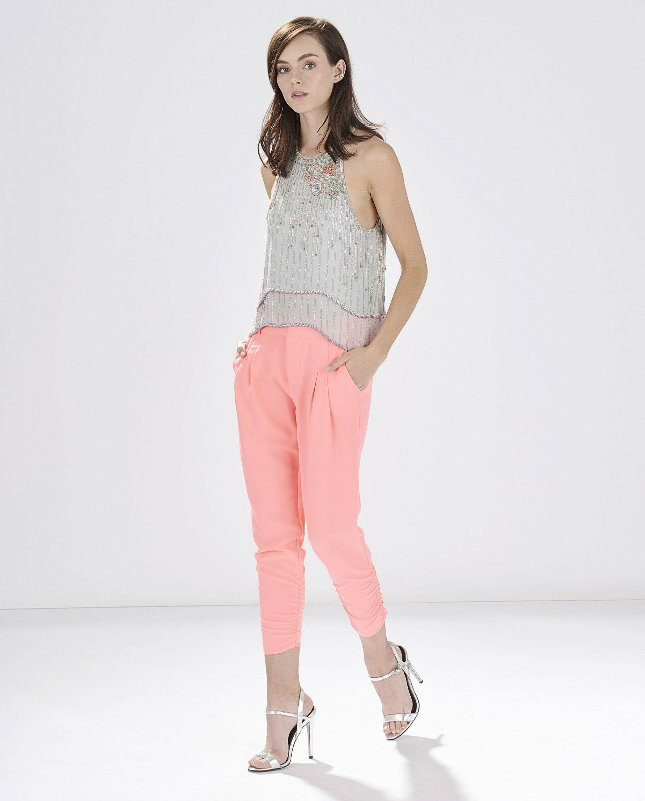 Parker Devlin Peach Ruched Ankle Double Pleat Cropped Silk Pants 4 NWT